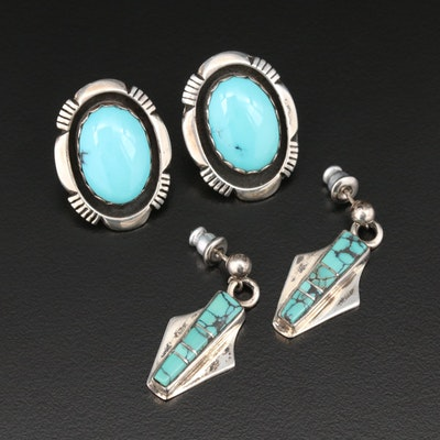 Leonard and Marian Nez Navajo Diné Sterling Turquoise Button and Drop Earrings