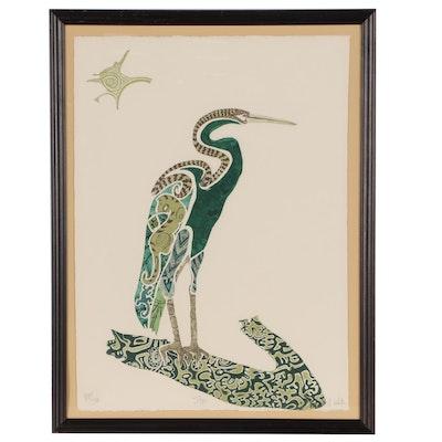 "Jonna White Aquatint Etching of Crane ""Star"""