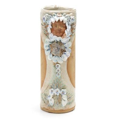 John Miller  Applied Decoration Art Pottery Vase, 20th Century