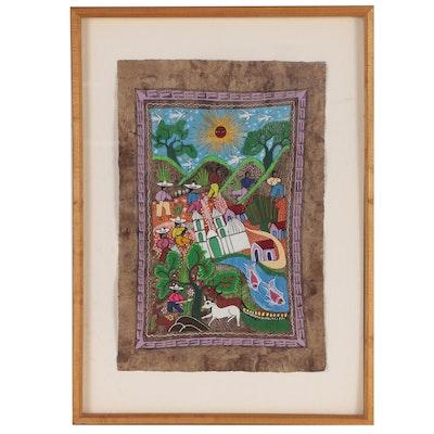 Mexican Folk Art Painting on Amate Bark