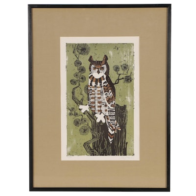 Harry Wysocki Lithograph of Owl