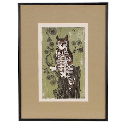 Harry Wysocki Lithograph of Owl