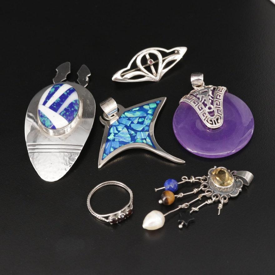 Assorted Jewelry with Citrine, Quartz, Azurmalachite and More