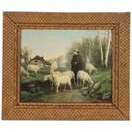 Lithograph after A.H. Bicknell of Shepherdess with Sheep