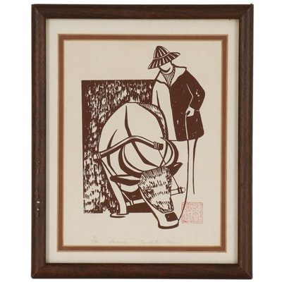 "Serigraph Print of Figure and Bull ""Farmer"""