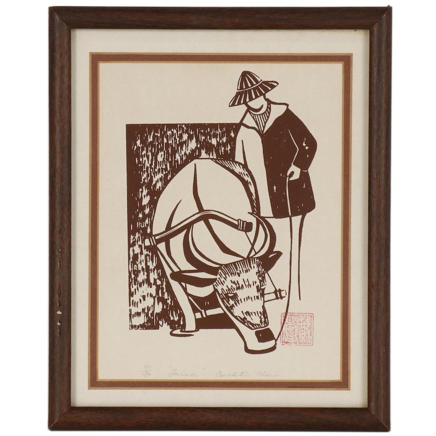 "Serigraph Print of Figure and Bull ""Farmer"""