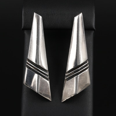 Signed Southwestern Style Sterling Silver Earrings