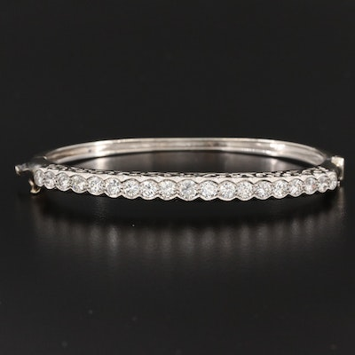 14K White Gold 2.75 CTW Diamond Hinged Bracelet
