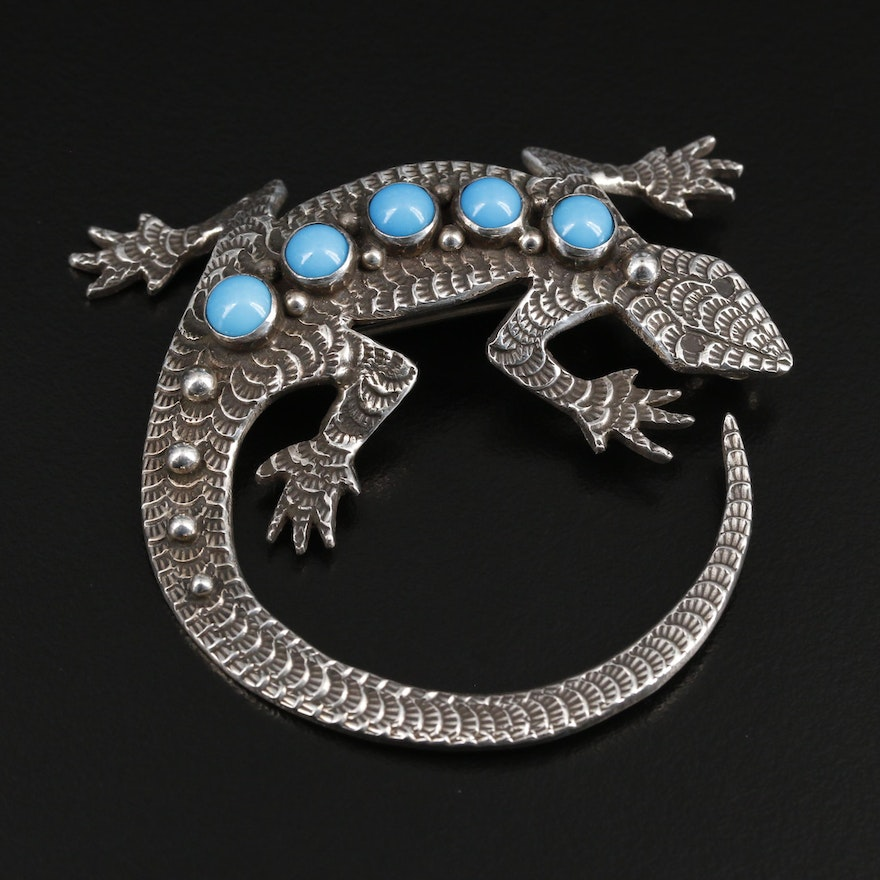 Lee Charley Navajo Diné Sterling Silver Turquoise Gecko Brooch