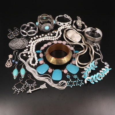 Assorted Jewelry with Rose Quartz, Pearl, Rhinestones and Imitation Turquoise
