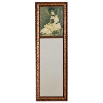 Trumeau Mirror with Offset Lithograph after Sir John Everett Millais