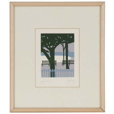 "Jan Roy Serigraph Print ""Park Benches"""