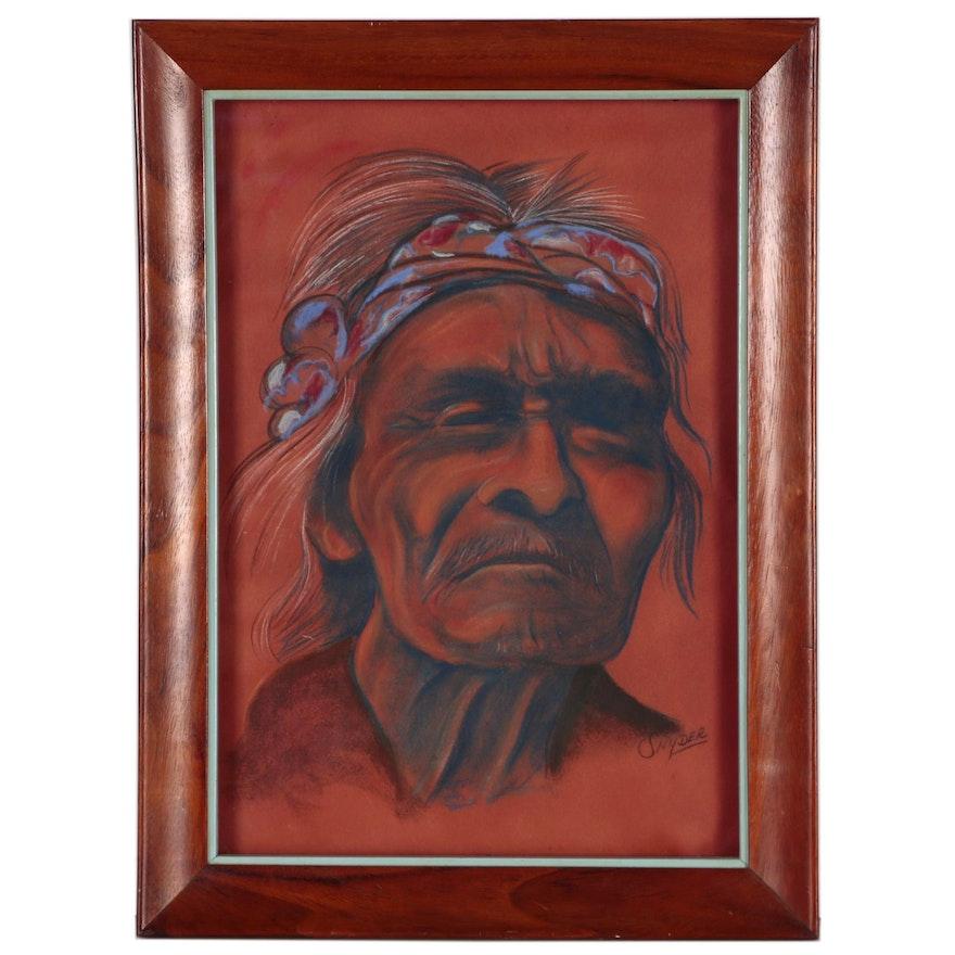 Pastel Portrait of Native American Man