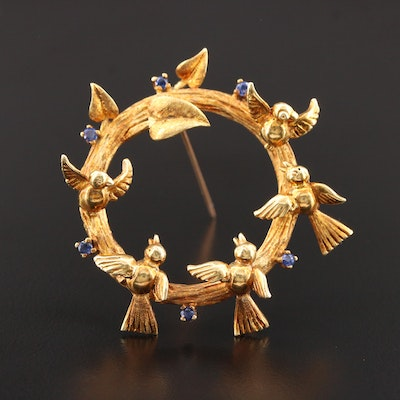 Vintage 18K Yellow Gold Sapphire Brooch