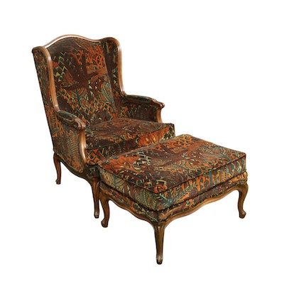 Hickory Chair Co. Louis XV-Style Wingback Armchair with Ottoman, Mid-20th C.