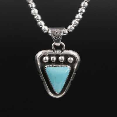 Sterling Silver Turquoise Pendant Necklace With Bead Chain