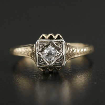 Art Deco 14K Yellow Gold Diamond Filigree Ring