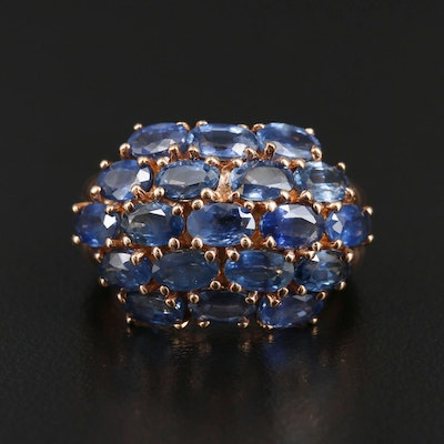 10K Gold Sapphire Dome Ring