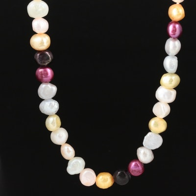 Multi-Color Cultured Pearl Strand Necklace with 14K Yellow Gold Clasp