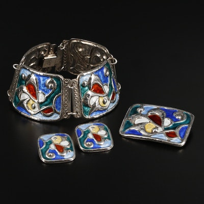 Øystein Balle Sterling Silver Jewelry Set Featuring Enamel Accents