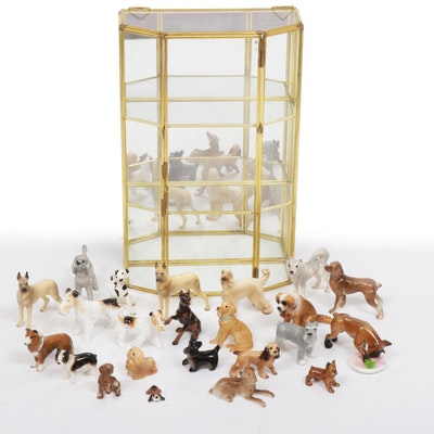 Fox Terriers, Dalmatians and Other Dog Figurines with Mirrored Display Case