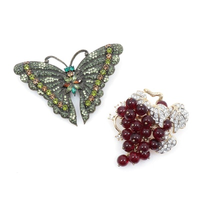 Joan Rivers Rhinestone Butterfly and Grape Brooches