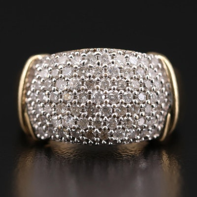 14K Yellow Gold 1.12 CTW Diamond Dome Ring