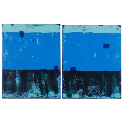 "Sanna Abstract Diptych Acrylic Painting ""Predawn"""