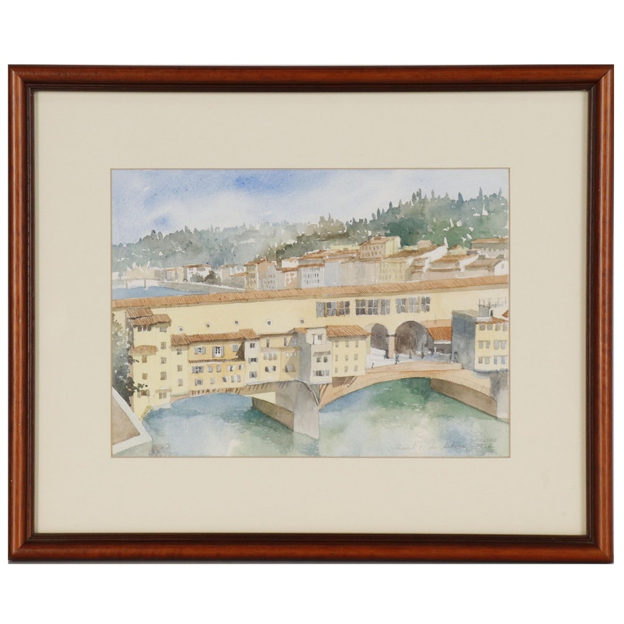 """Watercolor Painting of Italian Cityscape """"Firenze"""""""