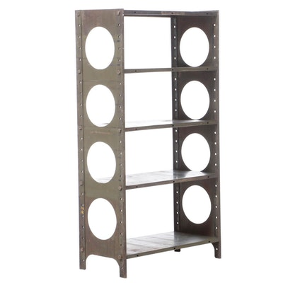 Industrial Green Steel Four-Tier Shelving Unit, 20th Century