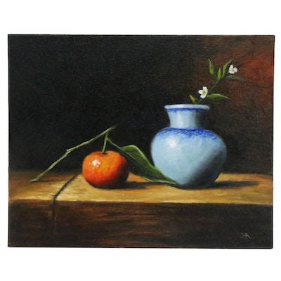 "Houra H. Alghizzi Still Life Oil Painting ""Tangerine and Blue Vase"""