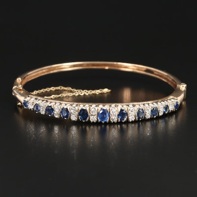 14K Yellow Gold Diamond and Sapphire Hinged Bracelet