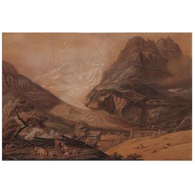 Embellished Etching of Alpine Scene