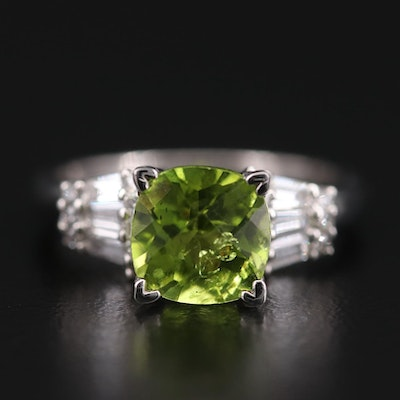 Platinum Peridot Ring with Diamond Shoulders