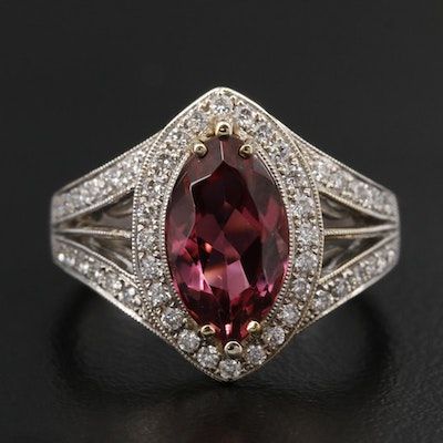 Simon G. 18K White Gold Tourmaline and Diamond Ring