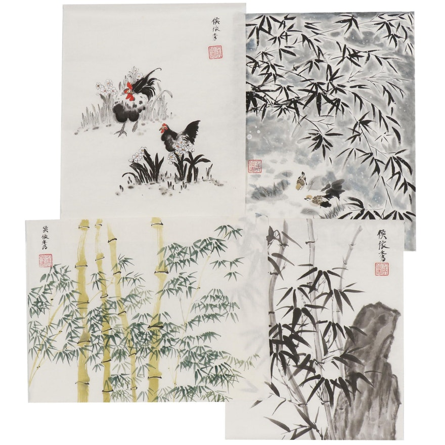 Hou Yixiu Chinese Style Ink and Watercolor Paintings