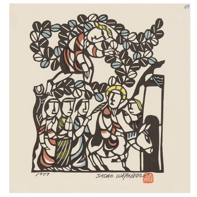 "Woodblock after Sadao Watanabe ""Zacchaeus in the Tree"""