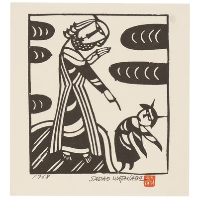 "Woodblock after Sadao Watanabe ""Christ and the Devil"""