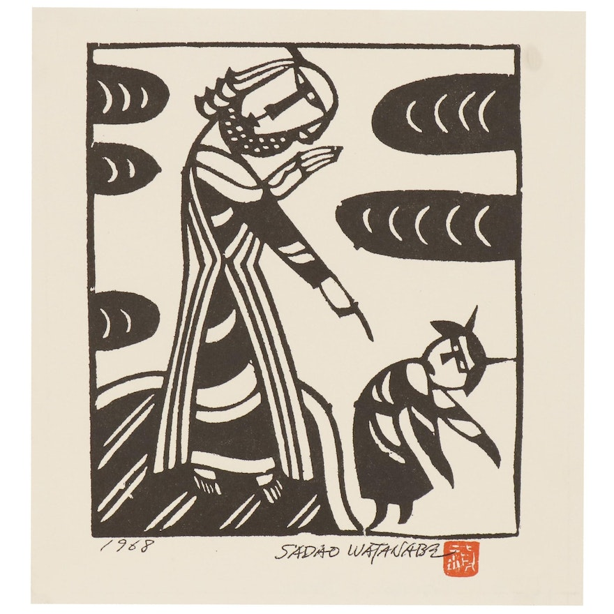 """Woodblock after Sadao Watanabe """"Christ and the Devil"""""""