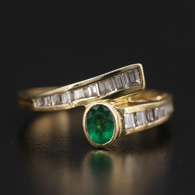 18K Yellow Gold Emerald and Diamond Bypass Ring