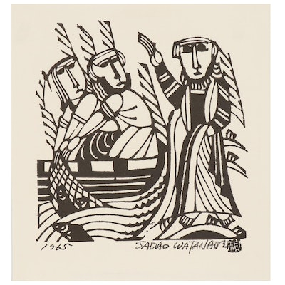 "Woodblock after Sadao Watanabe ""Andrew and Simon Following the Lord"""