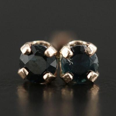 14K Yellow Gold Sapphire Stud Earrings