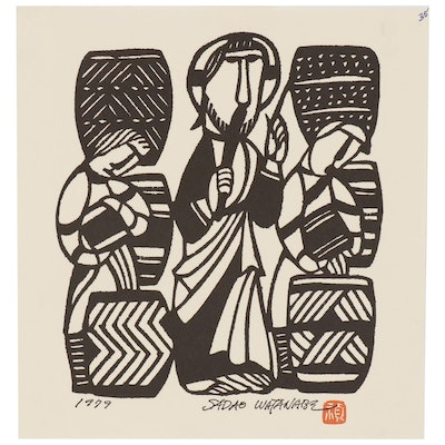 "Woodblock after Sadao Watanabe ""The First Miracle"""