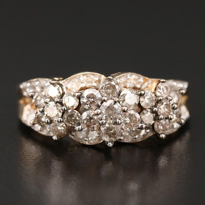 10K Yellow Gold 1.20 CTW Diamond Cluster Ring