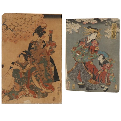 Utagawa Kunisada Woodblocks of Female Figures, Mid 19th Century