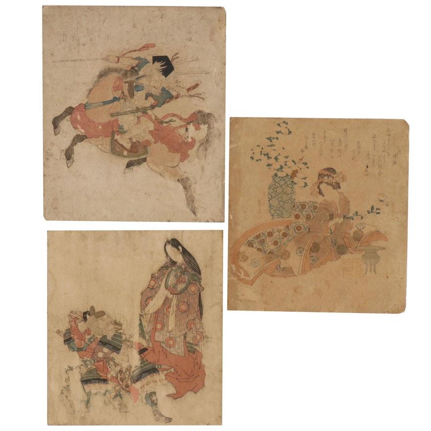 Yanagawa Shigenobu Woodblock and Other Ukiyo-e Woodblocks, Edo Period