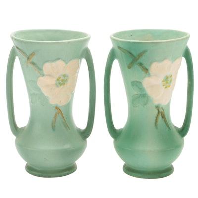 "Weller Pottery ""Wild Rose"" Handled Vases, 20th Century"