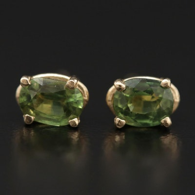 14K Yellow Gold Green Sapphire Stud Earrings