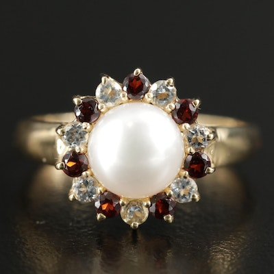 14K Yellow Gold Cultured Pearl, Garnet and White Topaz Ring