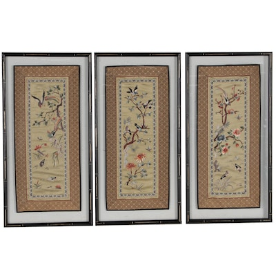 Chinese Hand-Embroidered Silk Panels